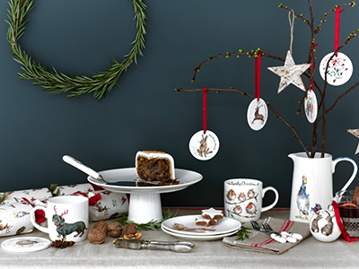 a mix of wrendale gifts including Christmas decprations