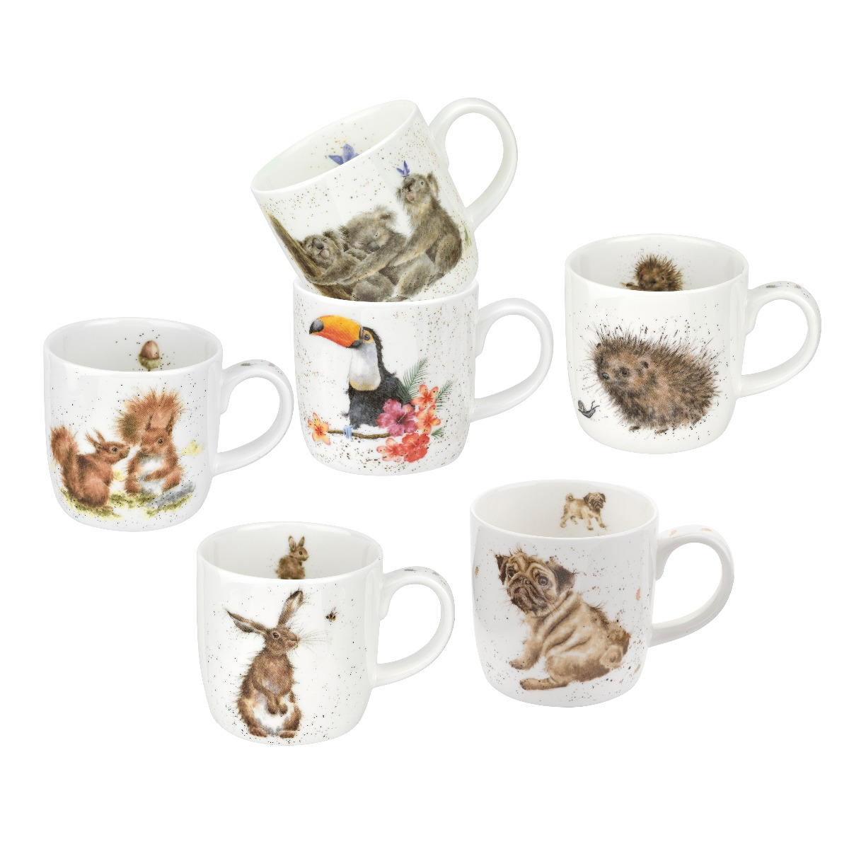 Royal Worcester Wrendale Designs Mixed Set of 6 Mugs