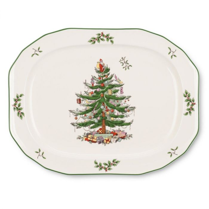 Spode Christmas Tree.Spode Christmas Tree Sculpted 14 Inch Oval Platter